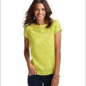 3/$30 LOFT Yellow Back Zip Lace Tee Size XS